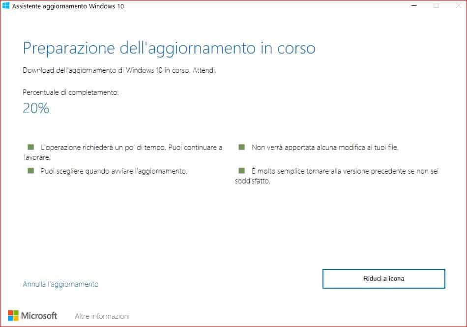 Windows 10 non si aggiorna, fine del servizio